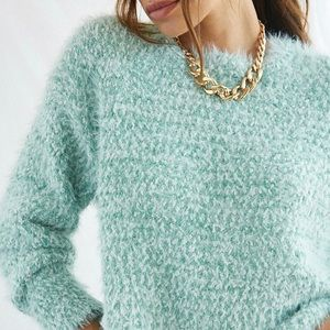 Mint knit fuzzy sweater